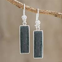 Jade dangle earrings, 'Secluded Beauty' - Modern Sterling Silver and Dark Green Jade Dangle Earrings