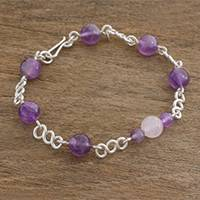 Amethyst and rose quartz beaded link bracelet, 'Guatemalan Mystique' - Rose Quartz Amethyst and Sterling Silver Beaded Bracelet