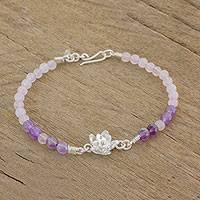 Amethyst and rose quartz beaded pendant bracelet, 'Narcissus Bloom' - Amethyst Rose Quartz and Sterling Silver Pendant Necklace