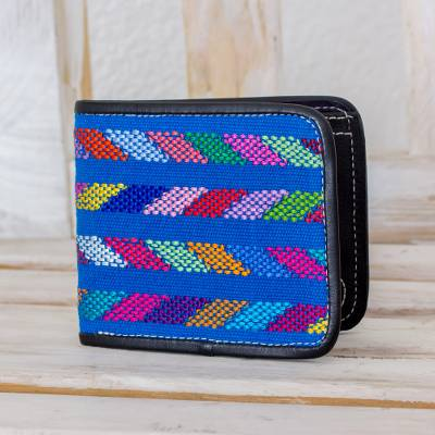 Cotton accent leather wallet, 'Colors of the Sea in Black' - Cotton Accent Black Leather Wallet from Guatemala