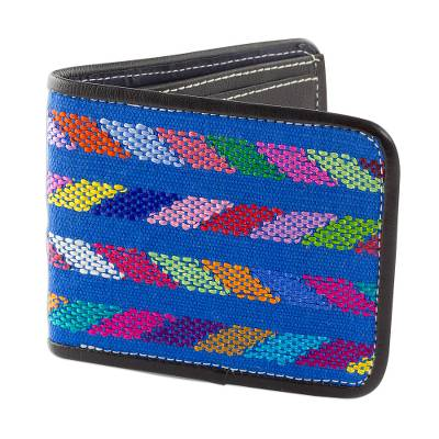 Cotton Accent Black Leather Wallet from Guatemala
