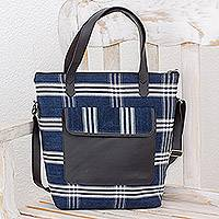 Leather accent cotton handbag, 'Traditional Style' - Leather Accent Cotton Handbag in Blue from Guatemala