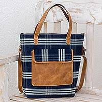 Leather accent cotton handbag, 'Traditional Chic' - Leather Accent Cotton Handbag in Blue from Guatemala