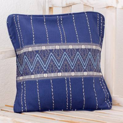 Cotton cushion cover, 'Zigzag Lines in Indigo' - Handwoven Cotton Cushion Cover in Indigo from Guatemala