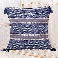 Cotton cushion cover, 'Zigzag Paths in Blue' - Zigzag Motif Cotton Cushion Cover in Graphite from Guatemala