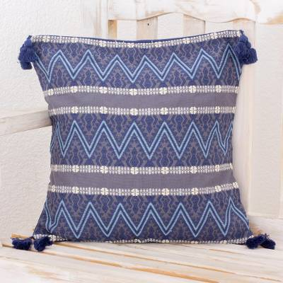 Cotton cushion cover, 'Zigzag Paths in Blue' - Zigzag Motif Cotton Cushion Cover in Blue from Guatemala