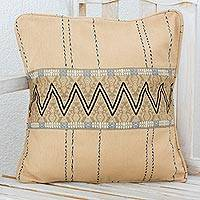 Cotton cushion cover, 'Zigzag Lines in Taupe' - Handwoven Cotton Cushion Cover in Taupe from Guatemala