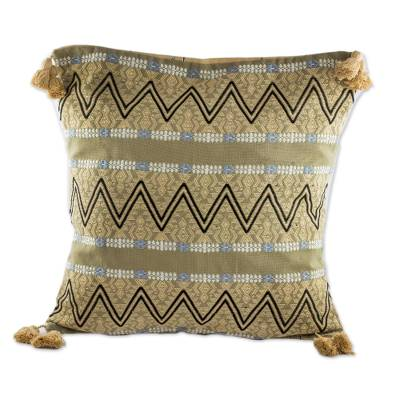 Cotton cushion cover, 'Zigzag Paths in Wheat' - Zigzag Motif Cotton Cushion Cover in Wheat from Guatemala