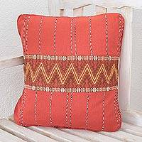 Cotton cushion cover, 'Zigzag Lines in Chili' - Handwoven Cotton Cushion Cover in Chili from Guatemala