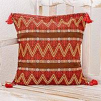 Cotton cushion cover, 'Zigzag Paths in Chestnut' - Zigzag Motif Cotton Cushion Cover in Chestnut from Guatemala
