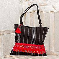 Cotton shoulder bag, 'Tactic Stripes on Black' - Handwoven Black Cotton Shoulder Bag from Guatemala