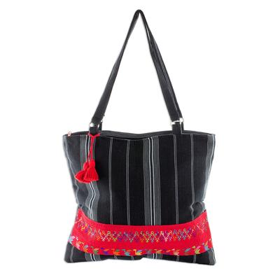 Handwoven Black Cotton Shoulder Bag from Guatemala