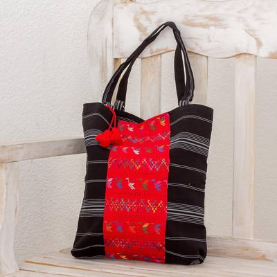 Cotton tote bag, 'Tactic Stripes in Black' - Handwoven Striped Cotton Tote Bag in Black from Guatemala
