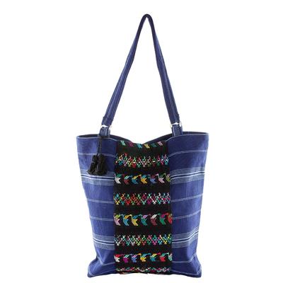 handwoven navy tote bag