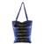Cotton tote bag, 'Tactic Stripes in Navy' - Handwoven Striped Cotton Tote Bag in Navy from Guatemala (image 2a) thumbail