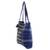 Cotton tote bag, 'Tactic Stripes in Navy' - Handwoven Striped Cotton Tote Bag in Navy from Guatemala (image 2b) thumbail