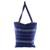 Cotton tote bag, 'Tactic Stripes in Navy' - Handwoven Striped Cotton Tote Bag in Navy from Guatemala (image 2c) thumbail