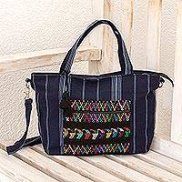 Cotton tote, 'Tactic Stripes in Navy' - Handwoven Striped Cotton Tote in Navy from Guatemala