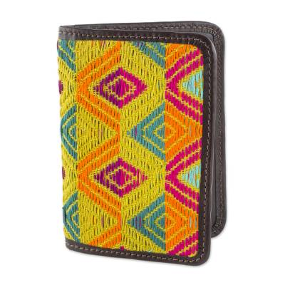 Diamond Motif Cotton Passport Wallet from Guatemala