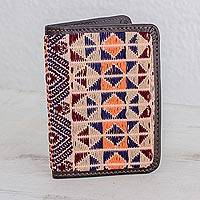 Leather accent cotton passport wallet, 'Geometric Imagination' - Geometric Cotton and Leather Passport Wallet from Guatemala