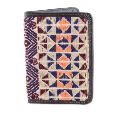Geometric Cotton and Leather Passport Wallet from Guatemala
