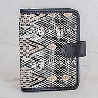 Leather accent cotton passport wallet, 'Guatemalan Kaleidoscope' - Artisan Crafted Leather Accent Cotton Passport Wallet