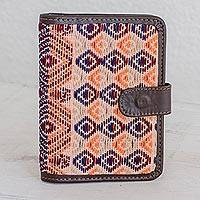 Leather accent cotton passport wallet, 'Geometric Mirage' - Colorful Leather Accent Cotton Passport Wallet