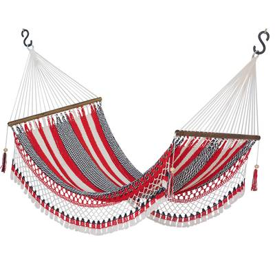 Cotton rope hammock, 'Celebration and Relaxation' (single) - Handwoven Striped Cotton Hammock (Single) from Nicaragua