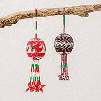 Glass beaded ornaments, 'Holiday Cheer' (pair) - Guatemalan Hand Crafted Glass Bead Ornaments (Pair)