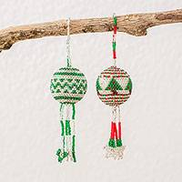 Glass beaded ornaments, 'Holiday Lights' (pair) - Red Green and White Handmade Ornaments with Beadwork (Pair)
