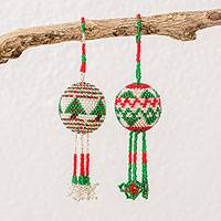 Glass beaded ornaments, 'Holiday Merriment' (pair) - Guatemalan Glass Beaded Ornaments with Holiday Motifs (Pair)
