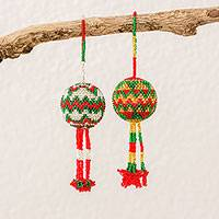 Glass beaded ornaments, 'Holiday Glee' (pair) - Zigzag Motif Glass Beaded Ornaments from Guatemala (Pair)