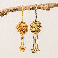 Glass beaded ornaments, 'Holiday Amity' (pair) - Hand Beaded Ornaments in Golden Tones from Guatemala (Pair)