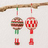 Glass beaded ornaments, 'Joyful Festival' (pair) - Guatemalan Green Red and White Hand Beaded Ornaments (Pair)