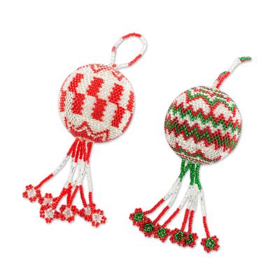Glass beaded ornaments, 'Joyful Festival' (pair) - Guatemalan Green Red and - Guatemalan Green Red And White Hand Beaded Ornaments (Pair) - Joyful