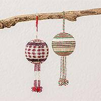 Glass beaded ornaments, 'Joyful Festivities' (pair) - Guatemalan Ornaments with Hand Beaded Striped Pattern (Pair)