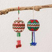 Glass beaded ornaments, 'Joyful Feast' (pair) - Zigzag Motif Glass Beaded Ornaments from Guatemala (Pair)