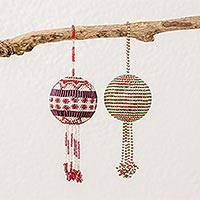 Glass beaded ornaments, 'Joyful Holiday' (pair) - Guatemalan Colorful Striped Glass Beaded Ornaments (pair)
