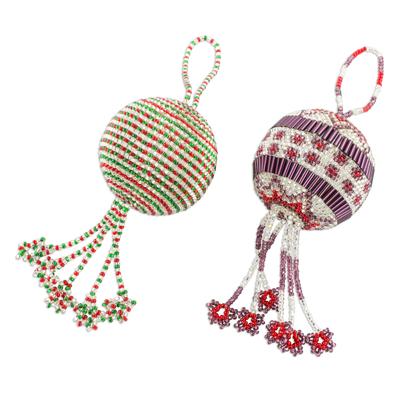 Glass beaded ornaments, 'Joyful Holiday' (pair) - Guatemalan Colorful  Striped Glass - Guatemalan Colorful Striped Glass Beaded Ornaments (pair) - Joyful