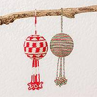 Glass beaded ornaments, 'Joyful Fiesta' (pair) - Guatemalan Red Green and White Hand Beaded Ornaments (Pair)