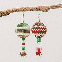 Glass beaded ornaments, 'Joyful Commemoration' (pair) - Handmade Glass Beaded Ornaments with Geometric Design (Pair)