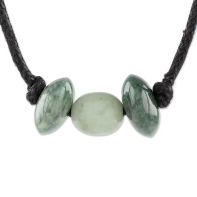 Unisex Tricolor Jade Pendant Necklace from Guatemala