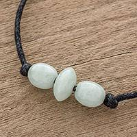 Jade pendant necklace, 'Young Energy' - Light Green Jade Beaded Pendant Necklace from Guatemala