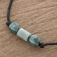 Jade pendant necklace, 'Youthful Love' - Bicolor Jade Beaded Pendant Necklace from Guatemala