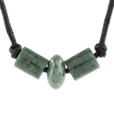 Jade pendant necklace, 'Green Virtue' - Green Jade Beaded Pendant Necklace from Guatemala