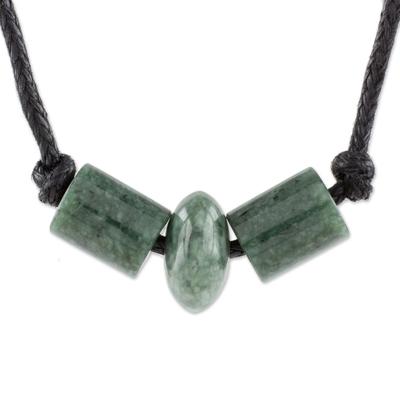 Green Jade Beaded Pendant Necklace from Guatemala