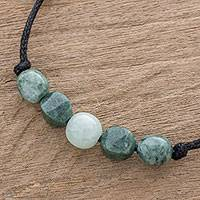 Jade pendant necklace, 'Shades of Beauty' - Adjustable Jade Beaded Pendant Necklace from Guatemala