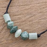Jade pendant necklace, 'Geometric Combination' - Artisan Crafted Jade Beaded Pendant Necklace from Guatemala