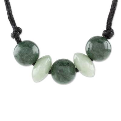 Jade pendant necklace, 'Planetary Combination' - Circular Jade Beaded Pendant Necklace from Guatemala