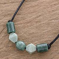 Jade pendant necklace, 'Geometric Family' - Geometric Jade Beaded Pendant Necklace from Guatemala